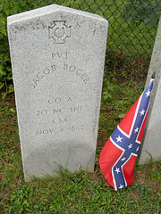 Confederate Row: Private Jacob Boger, Co. A 20th North Carolina Infantry (Photo Squirrel) Tags: confederate confederaterow cemetery grave gravestone gravemarker graveyard tombstone headstone memorial monument epitaph mtolivetcemetery frederickcountymd frederick maryland civilwar 1862