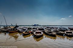 Boats in the Ganges (pcforprayashclicks) Tags: city varanasi benares india nikond3300 gods boats sky ganges incredibeindia natgeo travel kashi river