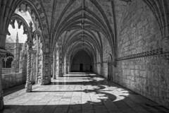 Sombras en el suelo. (Javier Martinez de la Ossa) Tags: bn claustro convento gotico javiermartinezdelaossa lisboa manuelino monasteriodelosjerónimos portugal santamariadebelem bw