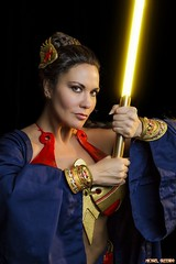 A Long Time Ago, On An Island Far, Far Away... (Ring of Fire Hot Sauce 1) Tags: cosplay wonderwoman jedi lightsaber portrait wondercon