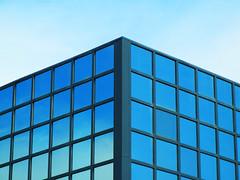 Blue Grid (Pandora-no-hako) Tags: architecture geometry indiana blue 2017 glass grid sky