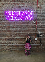Museum Of Ice Cream - Los Angeles 2017 (evaxebra) Tags: museum ice cream icecream moic museumoficecream art pink installation losangeles la downtown 7th luna minnie mouse dress neon sign ball