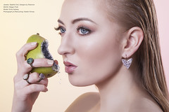 Bashful Owl (pear) (Katelin Kinney) Tags: druzy quartz crystal fruit icecream strawberry grapefruit pear geod glitter shine shimmer sparkly conceptual surreal advertising campaign beauty commercial blond beautiful jewels gems