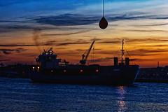 Inbound (Cederquist Christoffer) Tags: boat ship water reflections sunset goldenhour goldenmoments sunsetmagic bluesky orangesky harbour gothenburg sweden cederquist