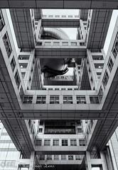 Fuji TV building (www.ThruMarzenasLens.com) Tags: fujitv japan marzenagrabczynskalorenc odaibaisland tokyo architecture bw building design futuristic travel wwwthrumarzenaslenscom