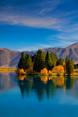 Autumn Reflections at Lake Ruataniwha (Jos Buurmans) Tags: autumn canterbury hills lake lakeruataniwha landscape mackenzie nature newzealand smallgroupoftrees southisland trees twizel nz