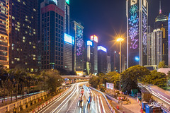 Driving Down The Canyon (Tim van Zundert) Tags: causewaybay road lighttrails cars light night evening longexposure architecture building crowds cityscape city skyline hongkong china sony a7r voigtlander 21mm ultron