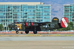B-24 Takeoff (mvonraesfeld) Tags: california ca field plane airplane freedom airport wings tour aircraft aviation wwii flight foundation consolidated bomber takeoff witchcraft liberator b24 moffett collings 2013 img5286