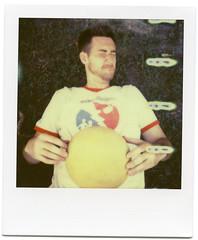 .. (Jösé) Tags: camera people toronto colour sports field grass yellow ball logo polaroid sx70 land epson sonar brendan kickball impossible onestep v700 roidweek px70 colorprotection roidweek2013