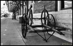 Cart - Durand Depot (the Gallopping Geezer 3.3 million + views....) Tags: railroad bw white black building station train canon wagon michigan structure restored depot cart geezer active durand 2013 tonemap