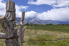 Fencepost and Eastern Sierra (wanderingnome) Tags: california vacation usa fence unitedstates lonepine easternsierra alabamahills pentaxk7 wanderingnomez may2013