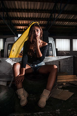 (Marko Zivkovic Photography) Tags: life windows light portrait woman white black hot color abandoned window girl beauty smile face look car fashion shirt contrast pose dark hair photography lights model eyes perfect warm alone sitting shadows shine hand looking dynamic legs skin top finger garage young tire dirty illuminated caterpillar jeans dirt workshop enjoy difference worker shorts passenger seduction gaze glance reckless enlighten brightside