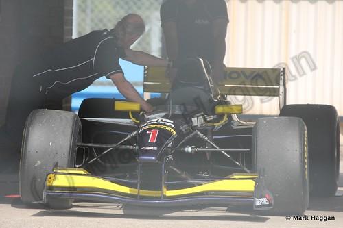 The Auto GP car of Narain Karthikeyan in Parc Ferme at Donington Park