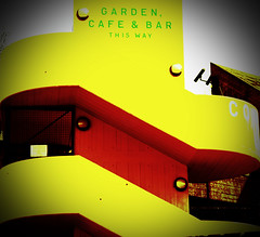 this way for refreshments (downhamdave) Tags: uk england abstract london tourism yellow bar canon restaurant holga cafe lomo bright britain south great sigma bank tourist southbank snacks vignette stais
