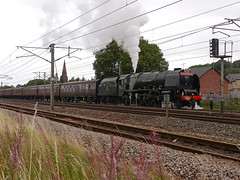 """LMS Coronation Class 4-6-2 no 46233 Duchess of Sutherland in charge of """"The 75th Anniveraary Special"""" south of Lockerbie Station 7th Sept 2013 (penlea1954) Tags: uk anniversary glasgow no scottish railway class steam special sutherland carlisle 75th coronation duchess the lms lockerbie 462 wcml 46233"""