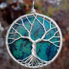 Chrysocolla Tree of Life Pendant (ethorart) Tags: blue tree green silver circle necklace wire natural recycled handmade ooak branches roots jewelry round handcrafted sterling twisted pendant treeoflife 925 reclaimed connections gemstone chrysocolla treeoflifependant ethora