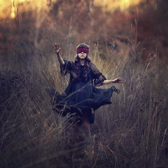 The pathfinder (reverie93) Tags: autumn light sky black fall nature girl field dark outdoors movement model day dress blind artistic bokeh creative dream squareformat dreams imagination canon5d folded tallgrass pathfinder fineartphotography innerworld conceptualphotography vision:mountain=062