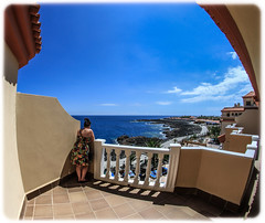 Looking out to sea. Costa Caleta de Fuste Fuerteventura. (CWhatPhotos) Tags: san jorge hotel elba group wide angle photographs photograph pics pictures pic picture image images foto fotos photography artistic cwhatphotos that have which contain view spain holiday sun sunny hot warm blue skies sky canon 7d eos lens costa caleta de fuste fuerteventura canaries opteka 65mm fisheye fish eye manual prime focus aspherical sept september 2013 hol time flickr