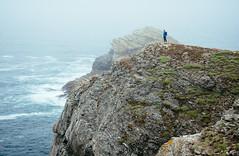 Pointe de Pouldon, Belle-le (miemo) Tags: ocean travel sea summer cliff mist man france nature fog landscape person coast brittany rocks europe hiking bretagne olympus shore hiker atlanticocean omd em5 modelreleased bellele pointedepouldon panasonic1235mmf28