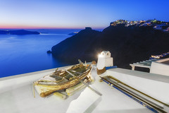 Rooftop Poetry (Allard Schager) Tags: sunset seascape rooftop landscape islands boat twilight zonsondergang nikon rocks dusk peaceful calm cliffs illuminated santorini greece caldera iconic cyclades mediterraneansea thira tranquilscene griekenland aegeansea cycladen 2013 middellandsezee touristdestination pictoresque d700 nikond700 nikkor2470mmf28 allardschagercom aegeschezee