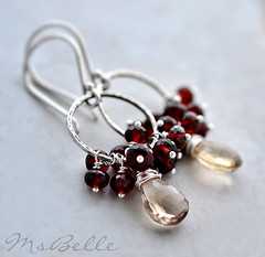 Champagne Citrine and Garnet Cluster Dangle Circle Earrings - Sterling (msbellee) Tags: silver cluster jewelry sterling earrings etsy dangle garnet gemstone msbelle hammeredcircle champagnecitrine