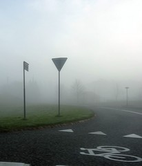 Misty Day (Jaedde & Sis) Tags: road mist bike sign fog driving