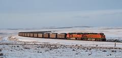 Early One Evening In February (LostOzarkRambler) Tags: railroad wyoming bnsf winterlandscape burlingtonnorthernsantafe coaltrain nikond300s
