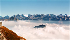 Really high (Katarina 2353) Tags: desktop travel autumn vacation sky people panorama cloud mist mountain mountains alps nature fog clouds landscape switzerland high europa outdoor swiss pilatus resolution peaks lucerne katarinastefanovic katarina2353