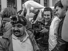 DSC_3755.jpg (Sav's Photo Gallery) Tags: street city uk travel portrait people london westminster smile smiling photography capital crowd feathers streetphotography trafalgarsquare tourist nationalgallery pillow gb pyjamas pillowfight soundasleep d7000 savash