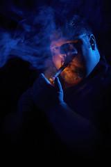 Freight Train (Jeffrey Deal) Tags: blue portrait orange selfportrait man black guy me night self paul fire big hands key shadows mr c smoke beefy low einstein cigar 100mm smoking flame buff 5d 28 heavy lowkey gels gel thick einsteins wisp strobe strobes pocketwizards pocketwizard e640 paulcbuff mrkii 5dmrkii ef100mmf28lmacroisusm