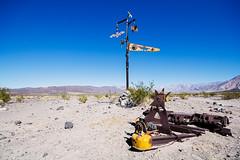 Saline Valley Beacon (matthewkaz) Tags: deathvalley salinevalley salinevalleyhottubs beacon marker art metal yellow desert oasis mountains california bat bats 2014