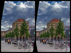 Sunday afternoon on Schloßstraße, Dresden 3-D / Stereoscopy / CrossView / HDR / Raw (Stereotron) Tags: saxony sachsen dresden elbflorenz downtown altstadt streetphotography urban citylife europe germany crosseye crosseyed crossview xview cross eye pair freeview sidebyside sbs kreuzblick 3d 3dphoto 3dstereo 3rddimension spatial stereo stereo3d stereophoto stereophotography stereoscopic stereoscopy stereotron threedimensional stereoview stereophotomaker stereophotograph 3dpicture 3dglasses 3dimage twin canon eos 550d yongnuo radio transmitter remote control synchron kitlens 1855mm tonemapping hdr hdri raw