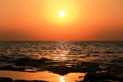 Sailing at sunset - Tel-Aviv beach (Lior. L) Tags: sailingatsunsettelavivbeach sailing sunset telaviv beach sailboat sea seascapes reflection rocks travel travelinisrael israel telavivbeach