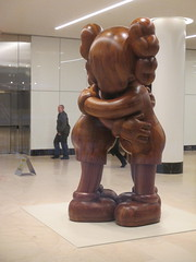 IMG_4130 (Brechtbug) Tags: kaws two wooden characters hugging office building lobby like statue near high line 2011 highline new york city nyc 04042017 west side manhattan transportation design redesign architecture art gallery former street artist brian donnelly his creation companion hugs hug with its hands covering face 2017 sculpture mickey mouse disney parody balloon thanksgiving day parade 46th st 7th ave avenue