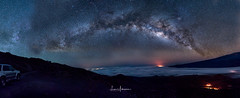 Heavenly Lights & Earthly Fire Panorama (Milky Way Above Mauna Kea Summit 04:2017) (JUNEAU BISCUITS) Tags: milkyway astronomy astrophotography stars skyscape observatory hawaii maunakeasummit maunakea lava volcano bigisland nikond810 nikon