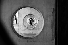 moving target (s@brina) Tags: man viewfinder spiral moving center monochrome blackandwhite bersagliomobile