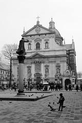 By the Church (CameraCat.) Tags: canon canon550d krakow cracow poland warsaw city monochrome blackandwhite church baroque street boy birds