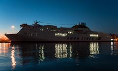 HSF Olympic Champion (George Baritakis) Tags: sea travel transportation ferries dusk lights
