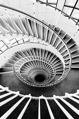 Premier Inn London Blackfriars spiral staircase (jbarry5) Tags: premierinnlondonblackfriarsspiralstaircase premierinnlondonblackfriars geometry london travelphotography travel blackandwhite abstract spiralstaircase