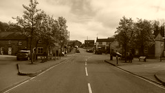 The Square, village centre, Eyam   -   April 2017 (dave_attrill) Tags: the square church st centre sepia monochrome 260 deaths eyam derbyshire peak district hope valley 11th century village bubonic plague breakout 1665 rev william mompessom anglo saxon roman lead mining outdoor historic mid 17th cottages cottage april 2017 national park white mines domesday book