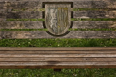 HBM from South Tyrol! (suzanne~) Tags: bench monday eppan southtyrol stmichael outdoor wood carving coatofarms italy seat
