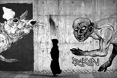 of mice and men (bostankorkulugu) Tags: suadiye istanbul turkey türkiye wall woman walk graffiti art streetart graffitiart mural devil satan mouse mice rat street underpass rakun