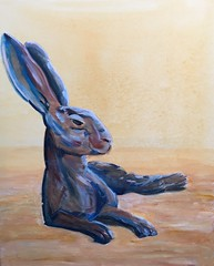 """Heat of the Day"" here is a painting I have been working on for some time, but have finally finished. #hare #sun #midday #hot #heat #art #artforsale #exhibition #gallery (Jane Haigh Art) Tags: hare sun midday hot heat art artforsale exhibition gallery"