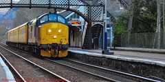 37421 @ Dunkeld & Birnam (A J transport) Tags: 37421 diesel class37 testtrain colas railway trains scotland networkrail