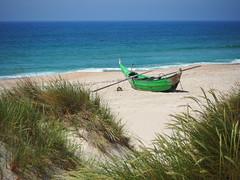 Ao longe o mar (marina_felix) Tags: sea beach boat dune sand grass blue clear sunny warm
