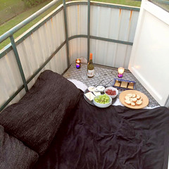 Balcony hang-out temperatures (Sarrra ☆) Tags: balcony wine biscuits candles bread cushions grapes