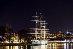 Skeppsholmen ship (nydavid1234) Tags: nikon d600 nydavid1234 skeppsholmen stockholm afchapman ship night nautical water reflections nightphotography longexposure masts boat landmark sweden hostel youthhostel