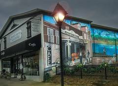 HWW - From  DownTown Loudon, Tennessee .... (~ Cindy~) Tags: tennessee loudon hww windows walls fences mural decor shops town friendliness 2016 archived post lamp wall decord