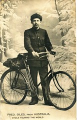 Fred Giles from Australia, Cycle Touring the World (Named Faces from the Past) Tags: cyclist bicycle fredgiles frederickgiles australia worldtrip vintage