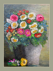 Flowers  ( oil ) (pickled_newt) Tags: oilpainting flowerspainting oilpaint art medium textures artist elanevkart oiloncanvaspainting canvas